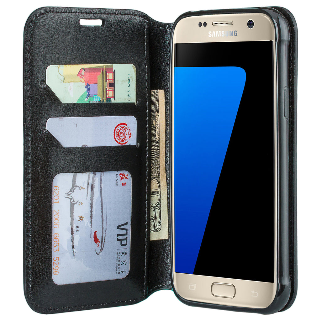 new style 9d22a 9923b Samsung Galaxy S7 Active Case, Magnetic Fold[Kickstand] Pu Leather Wallet  Case with ID & Credit Card Slots for Samsung Galaxy S7 Active - Black