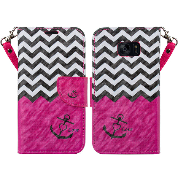 samsung galaxy s7 active leather wallet case - hot pink anchor - www.coverlabusa.com