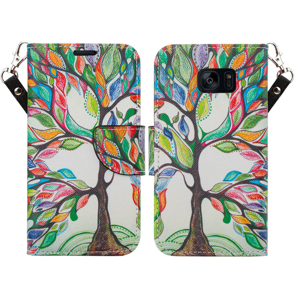 samsung galaxy s7 active leather wallet case - colorful tree - www.coverlabusa.com