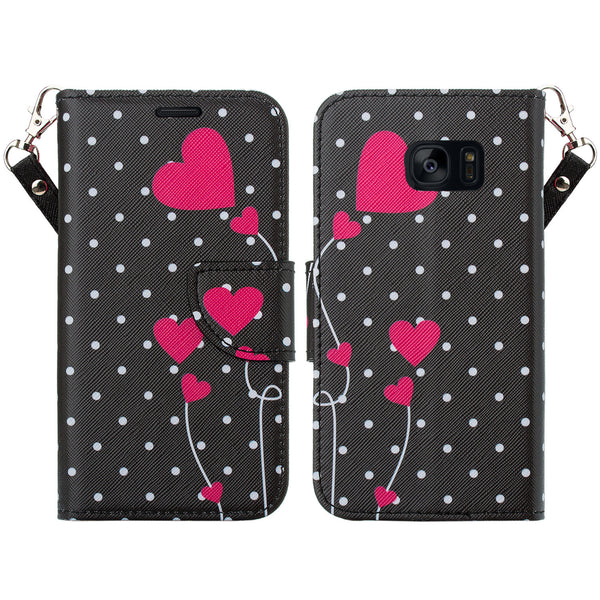 samsung galaxy s7 active leather wallet case - polka dot hearts - www.coverlabusa.com