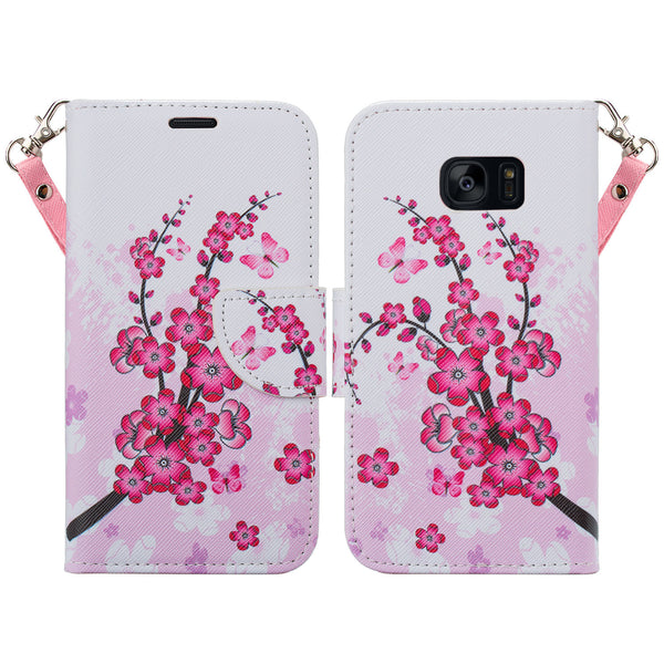 samsung galaxy s7 active leather wallet case - cherry blossom - www.coverlabusa.com