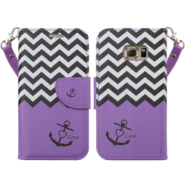 samsung galaxy s7 active leather wallet case - purple anchor - www.coverlabusa.com