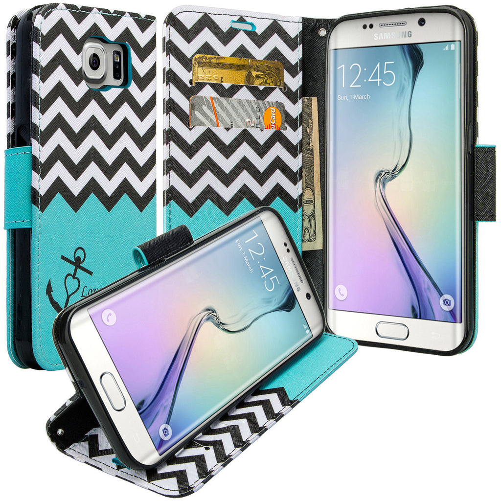 galaxy S6 Edge Plus cover, galaxy S6 Edge Plus wallet case - Teal Anchor - www.coverlabusa.com