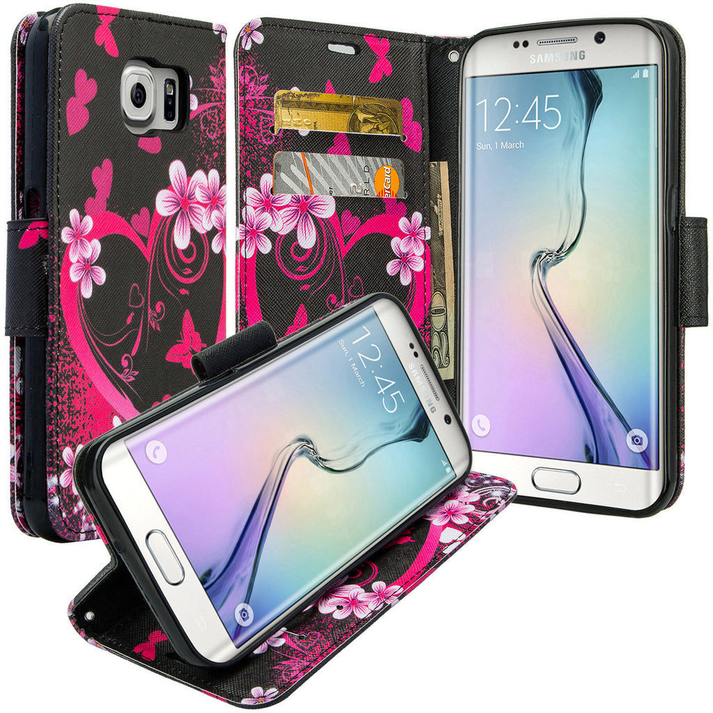 online retailer ac732 b028b Samsung Galaxy S6 Edge Plus Case, Wrist Strap Magnetic Flip Fold[Kickstand]  Pu Leather Wallet Case with ID & Card Slots - Flower Hearts
