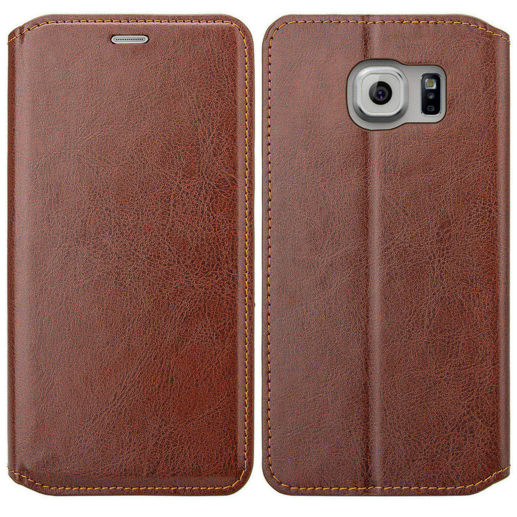 wholesale dealer 269d2 ea89a Samsung Galaxy S6 Edge Plus Case, Pu Leather Magnetic Fold[Kickstand]  Wallet Case with ID & Card Slots for S6 Edge Plus - Brown