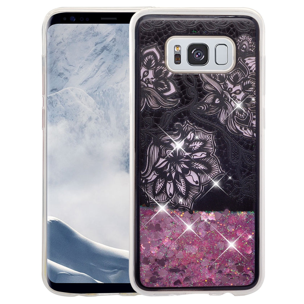 new style a8585 c5c6e Galaxy S8 Case, Samsung Galaxy S8 Luxury Bling Liquid Glitter Case, Sparkle  Quicksand Case Cover - Pink Flowers Pink