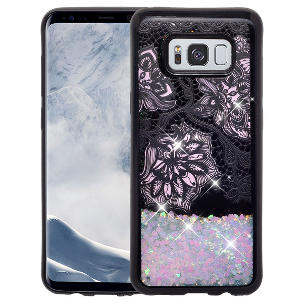 galaxy s8  liquid sparkle quicksand case - pink flower lace - www.coverlabusa.com