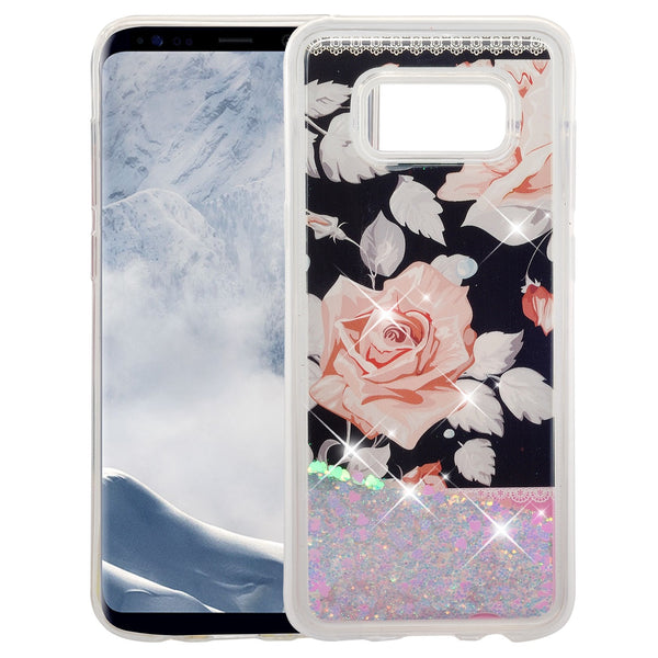 galaxy s8  liquid sparkle quicksand case - pink rose - www.coverlabusa.com