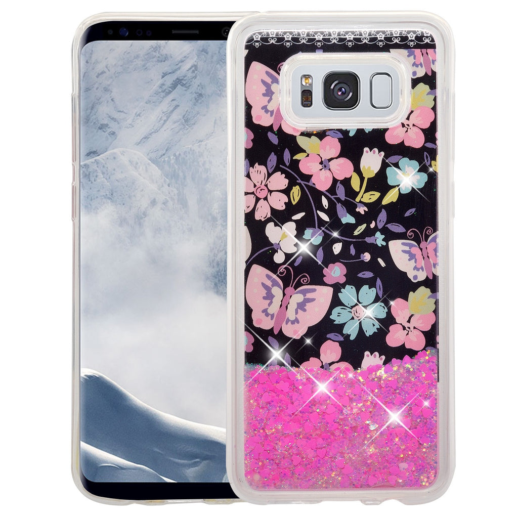 newest df4d5 d18bf Galaxy S8 Case, Samsung Galaxy S8 Luxury Bling Liquid Glitter Case, Sparkle  Quicksand Case Cover - Pink Butterfly