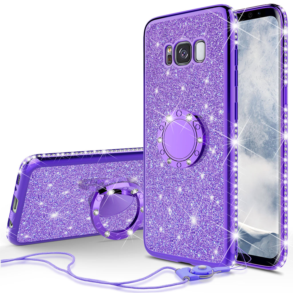 sale retailer a5627 a3f04 Samsung Galaxy S8 Case, SM-G950 Case, Glitter Cute Phone Case Girls with  Kickstand,Bling Diamond Rhinestone Bumper Ring Stand Sparkly Luxury Clear  ...
