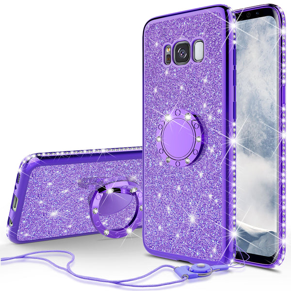samsung galaxy 8  glitter bling fashion case - purple - www.coverlabusa.com