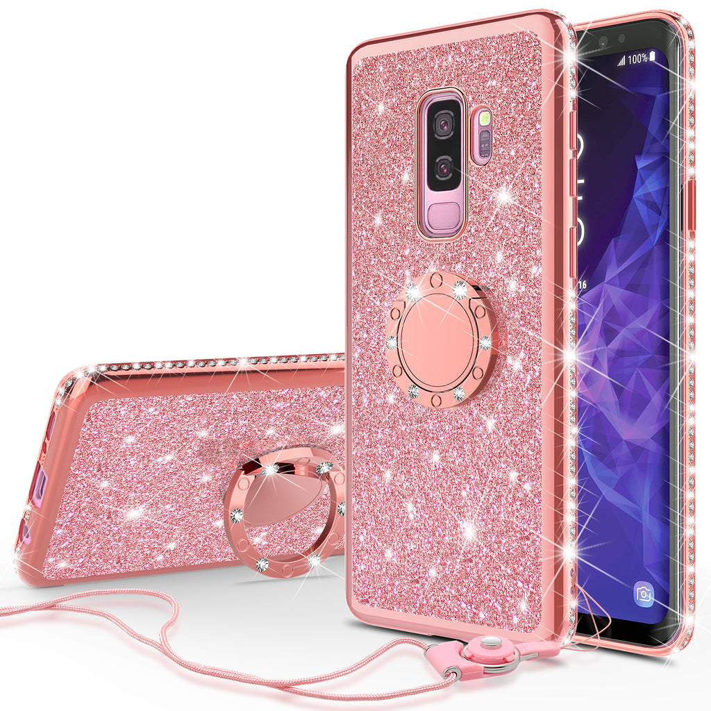 best service 50d15 4a750 Samsung Galaxy S9 Plus Case, SM-G965U Case, Glitter Cute Phone Case Girls  with Kickstand,Bling Diamond Rhinestone Bumper Ring Stand Sparkly Luxury ...