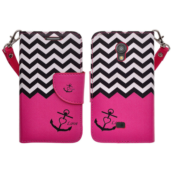 samsung galaxy light leather wallet case - hot pink anchor - www.coverlabusa.com