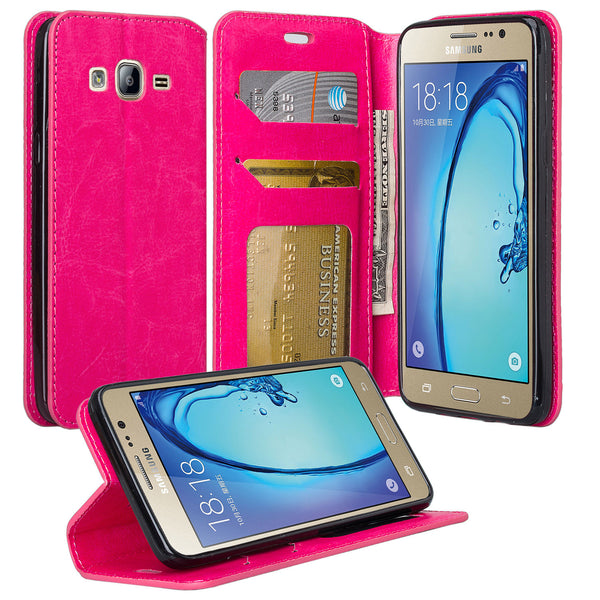 samsung galaxy on5 PU leather wallet case - hot pink - www.coverlabusa.com