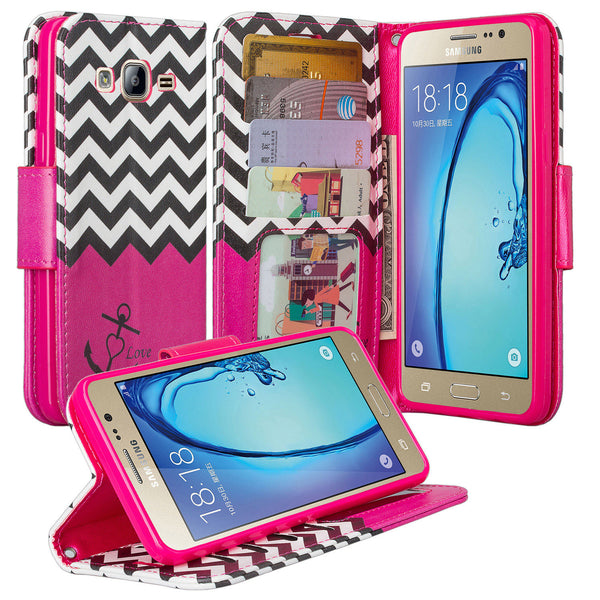 samsung galaxy on5 PU leather wallet case - hot pink anchor - www.coverlabusa.com