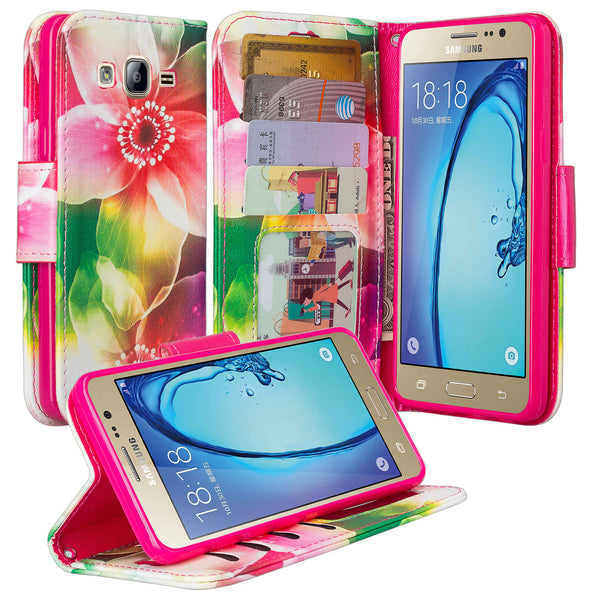 samsung galaxy on5 PU leather wallet case - lily pedals - www.coverlabusa.com