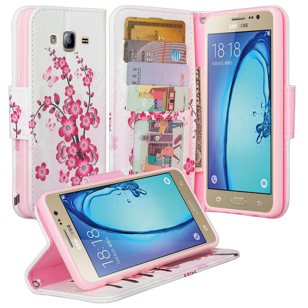 samsung galaxy on5 PU leather wallet case - cherry blossom - www.coverlabusa.com