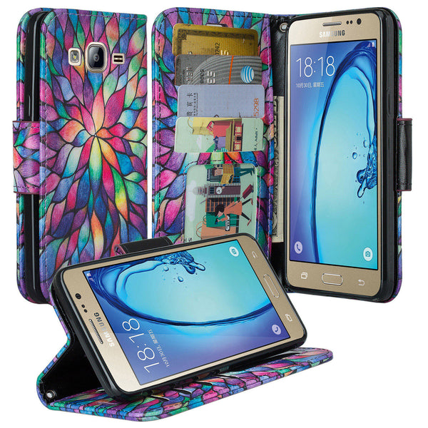 samsung galaxy on5 PU leather wallet case - rainbow flower - www.coverlabusa.com