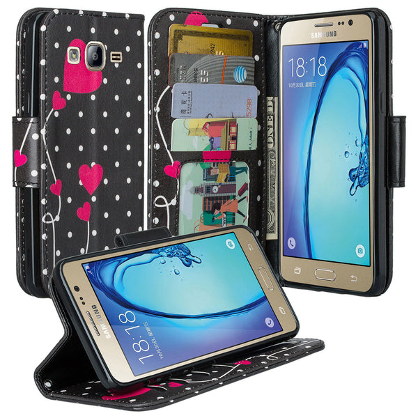 samsung galaxy on5 PU leather wallet case - polka dot hearts - www.coverlabusa.com