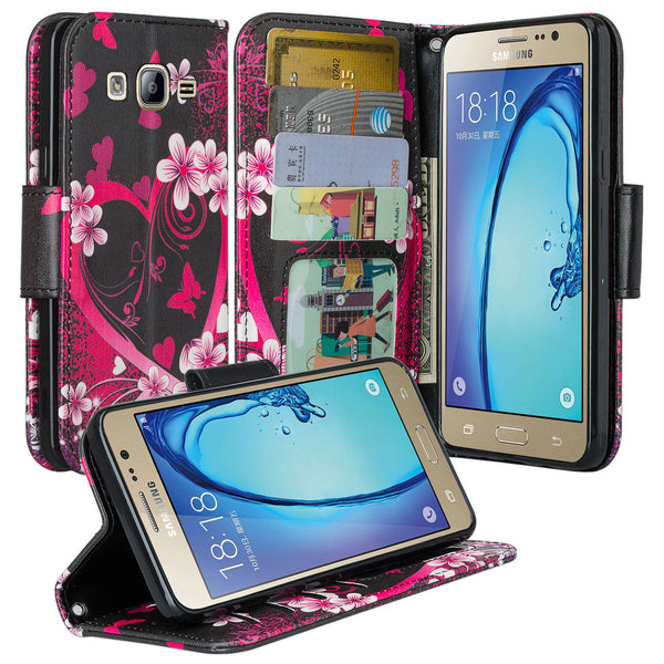 samsung galaxy on5 PU leather wallet case - heart butterflies - www.coverlabusa.com