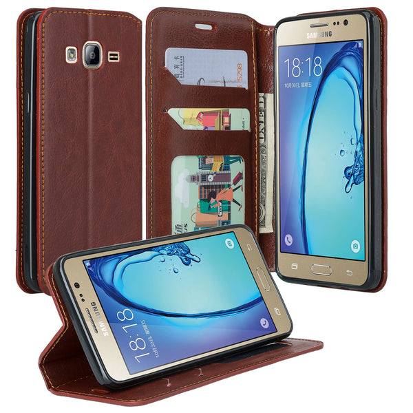samsung galaxy on5 Pu leather wallet case - brown - www.coverlabusa.com