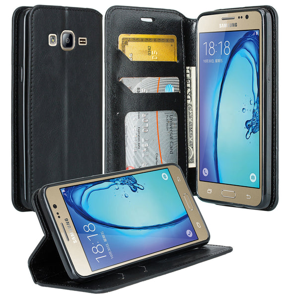 samsung galaxy on5 PU leather wallet case - black - www.coverlabusa.com