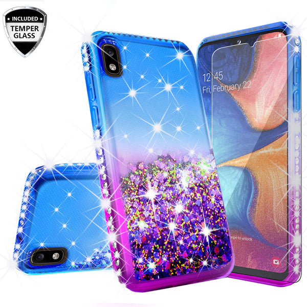 glitter phone case for samsung galaxy a10e - blue/purple gradient - www.coverlabusa.com