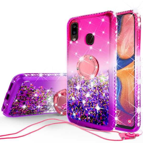 glitter phone case for samsung galaxy a20 - hot pink/purple gradient - www.coverlabusa.com