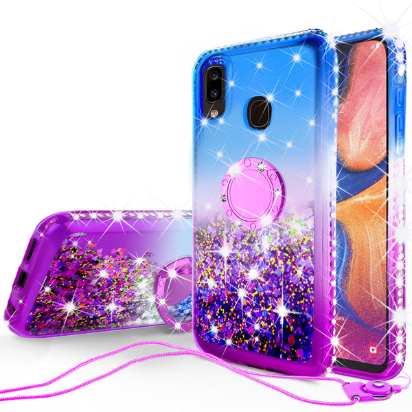 glitter phone case for samsung galaxy a20 - blue/purple gradient - www.coverlabusa.com