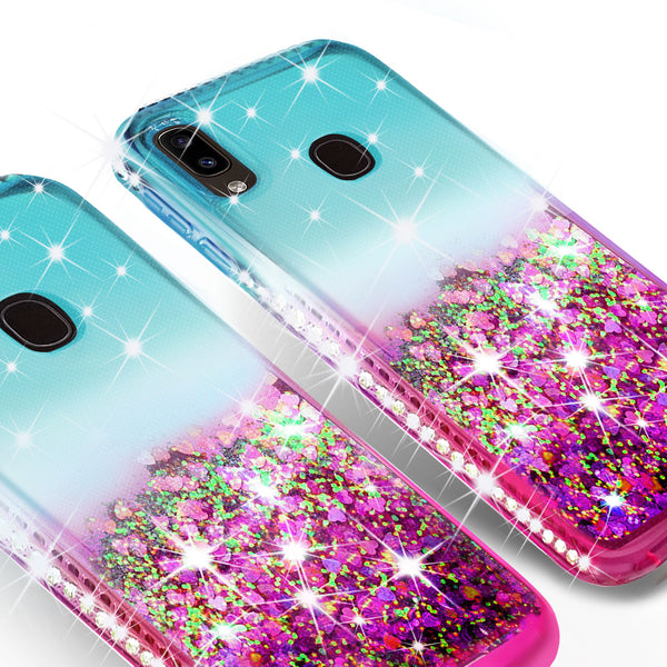 glitter phone case for samsung galaxy a20 - teal/pink gradient - www.coverlabusa.com