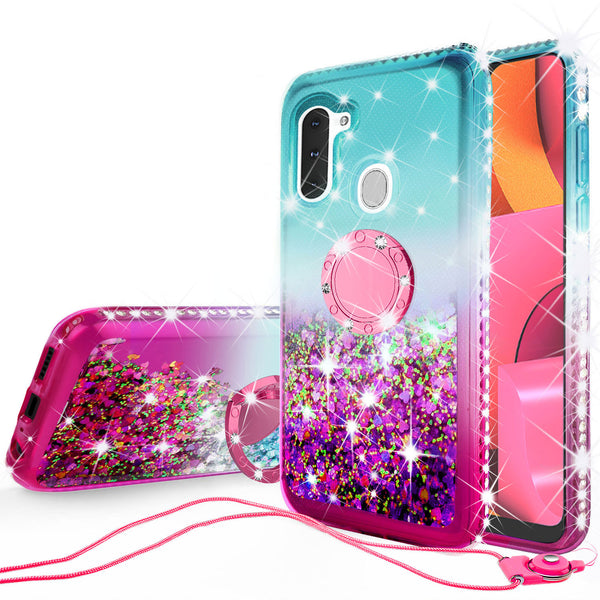 glitter phone case for samsung galaxy a21 - teal/pink gradient - www.coverlabusa.com