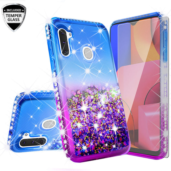 glitter phone case for samsung galaxy a21 - blue/purple gradient - www.coverlabusa.com