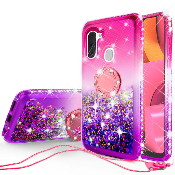 glitter phone case for samsung galaxy a21 - hot pink/purple gradient - www.coverlabusa.com