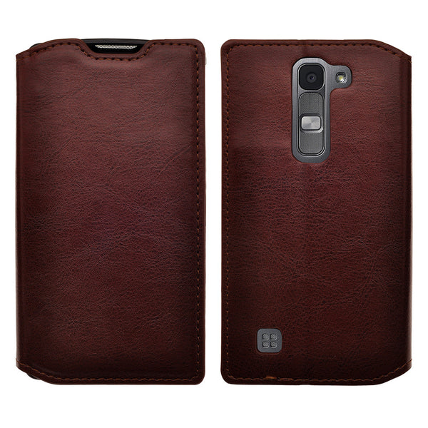 lg volt2 wallet case - brown - www.coverlabusa.com