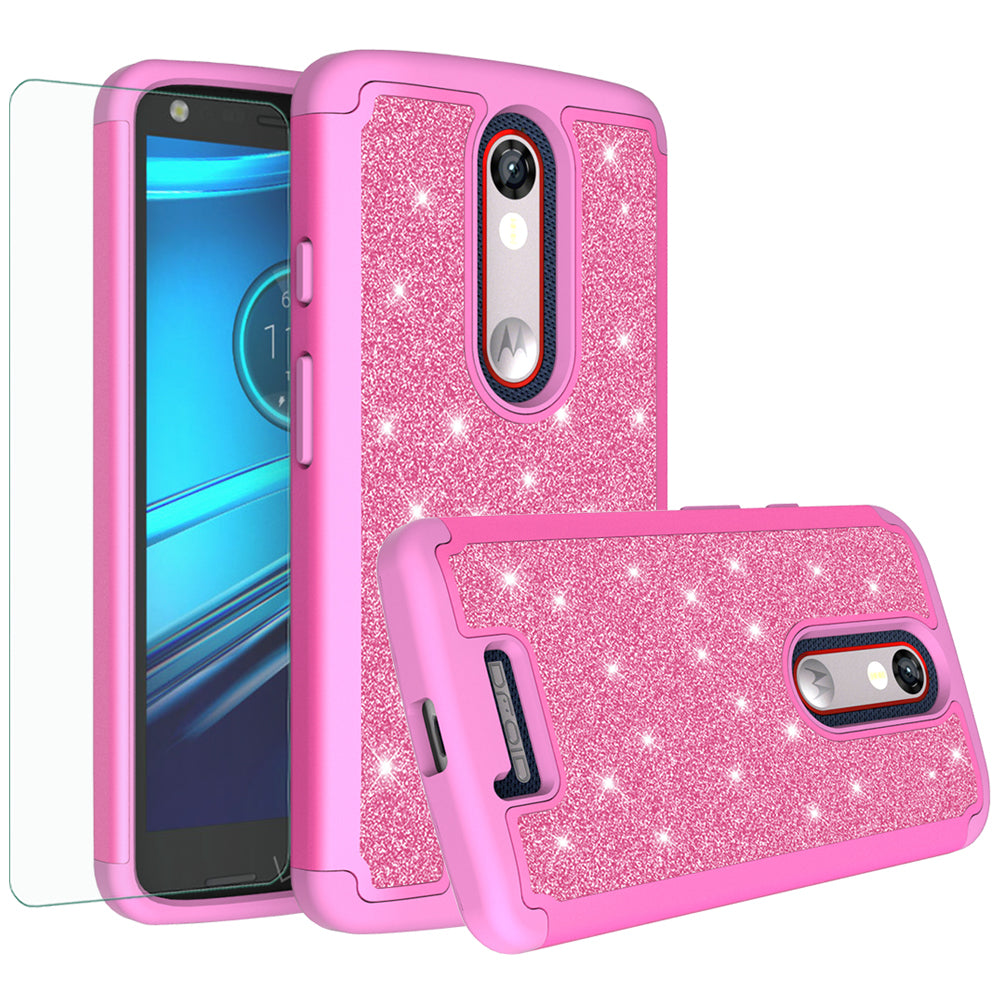 official photos 3e915 5ab80 Motorola Droid Turbo 2 Case | Moto X Force Case | Kinzie Bounce Case,  Glitter Bling Heavy Duty Shock Proof Hybrid Case with [HD Screen Protector]  Dual ...