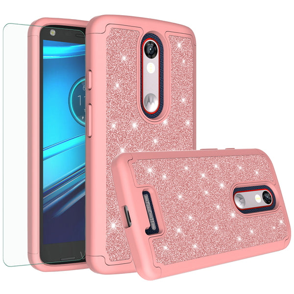 Motorola Droid Turbo 2 Glitter Hybrid Case - Rose Gold - www.coverlabusa.com