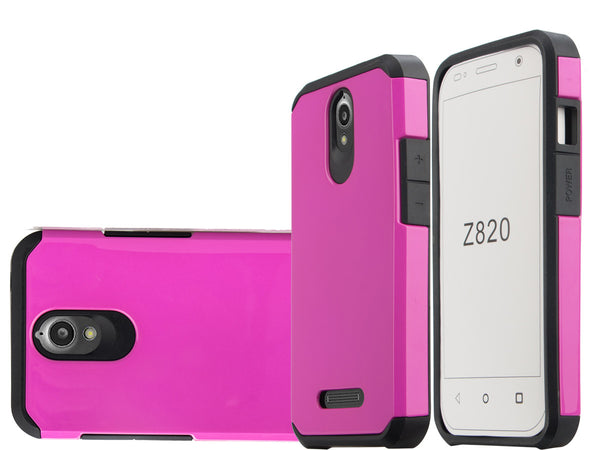 ZTE Obsidian Slim Hybrid Dual Layer Case - Hot Pink/Black - www.coverlabusa.com