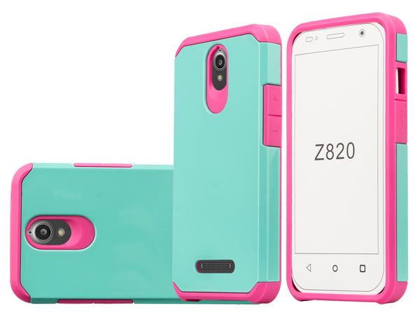 ZTE Obsidian Slim Hybrid Dual Layer Case - Teal/Hot Pink - www.coverlabusa.com