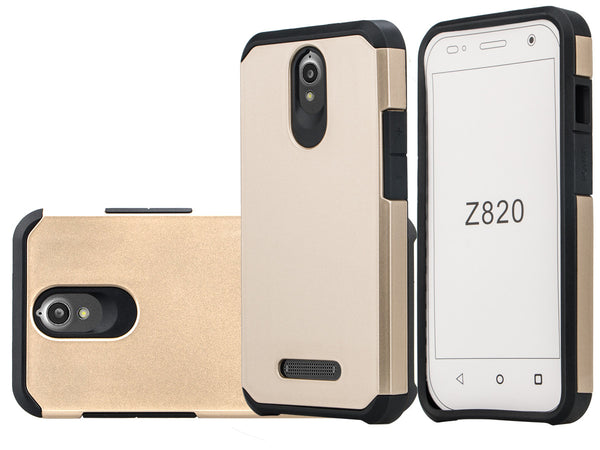 ZTE Obsidian Slim Hybrid Dual Layer Case - Gold/Black - www.coverlabusa.com