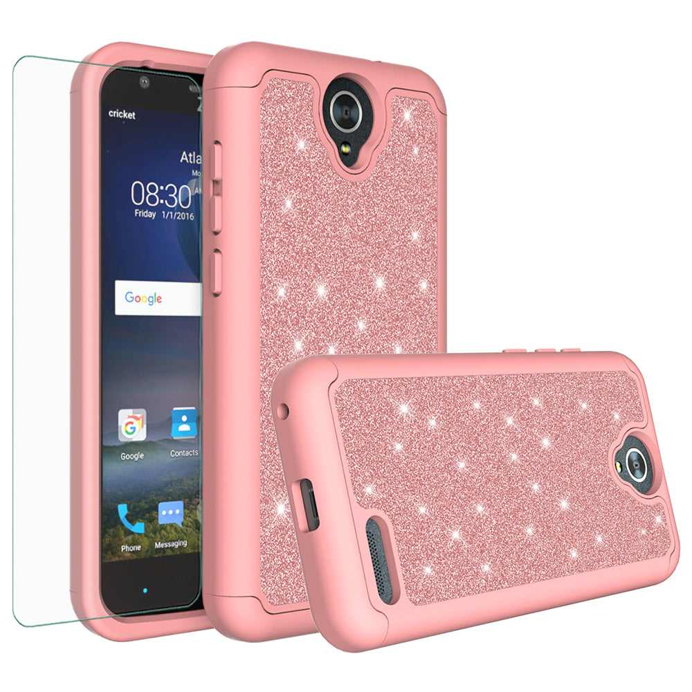 wholesale dealer 9d718 76321 ZTE Grand X3 Case, ZMAX Champ, ZMAX Grand, Warp 7, Avid 916 Case, Glitter  Bling Heavy Duty Shock Proof Hybrid Case with [HD Screen Protector] Dual ...