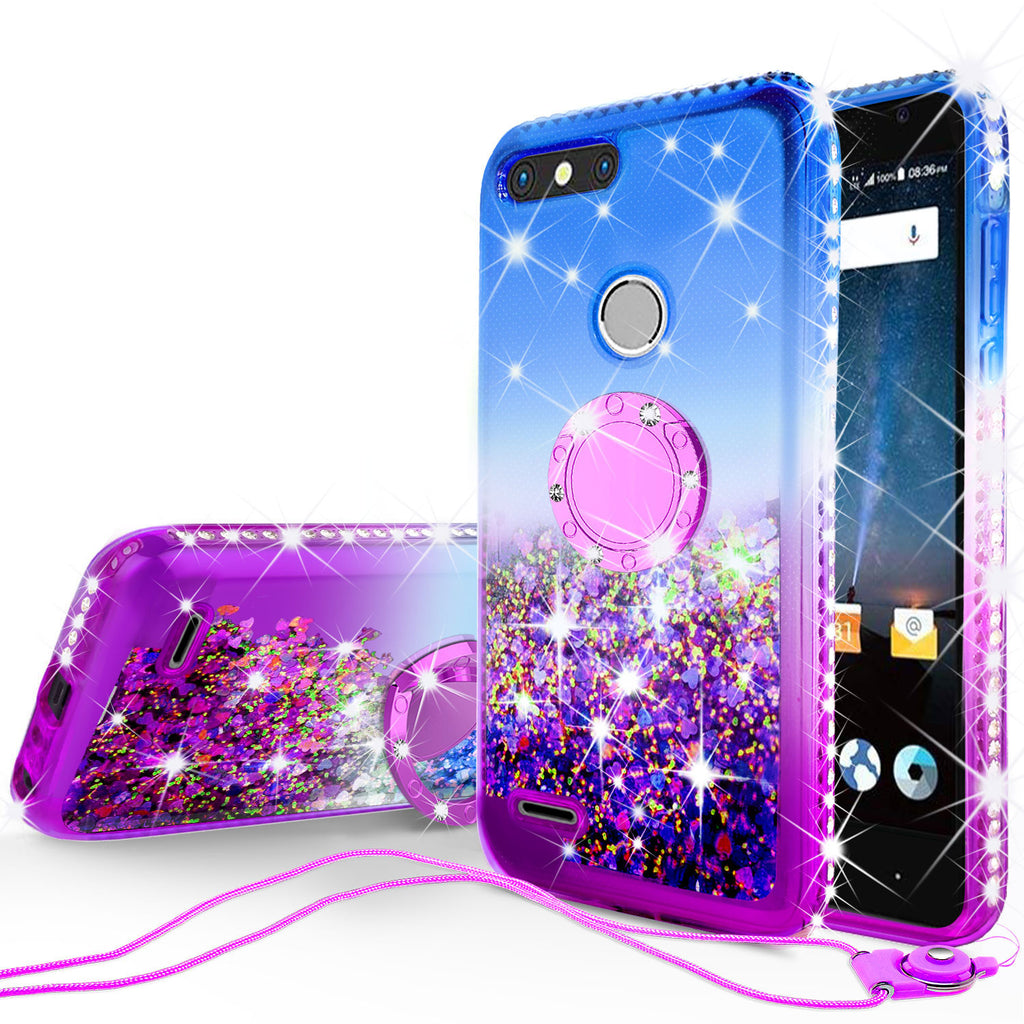 Glitter Phone Case Kickstand Compatible for ZTE Sequoia Case, Blade Z Max,  ZTE Z982 Case,Ring Stand Liquid Floating Quicksand Bling Sparkle Protective