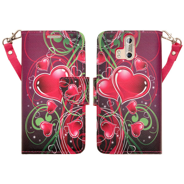 ZTE Axon Pro leather wallet case - heart strings - www.coverlabusa.com