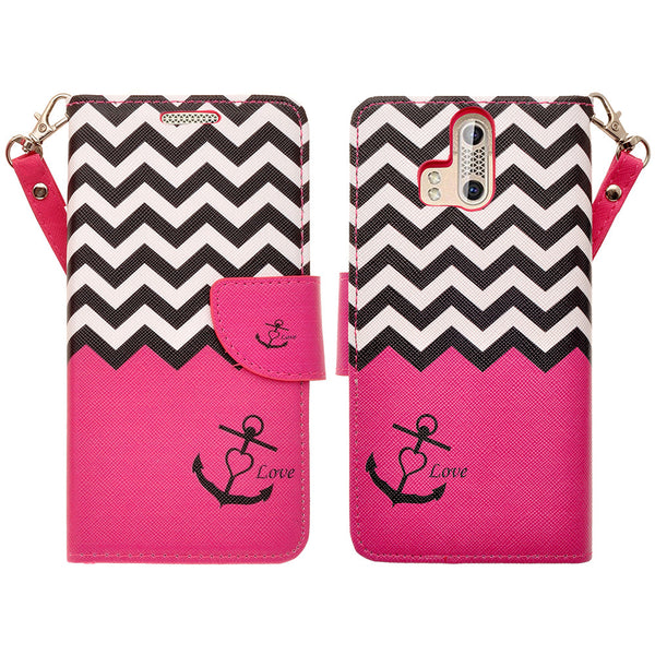 ZTE Axon Pro leather wallet case - hot pink anchor - www.coverlabusa.com
