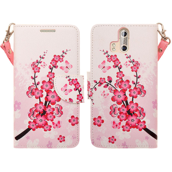 ZTE Axon Pro leather wallet case - cherry blossom - www.coverlabusa.com