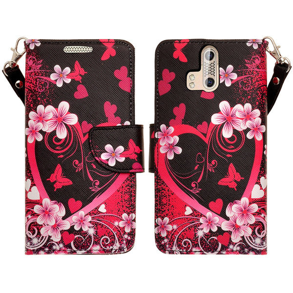 ZTE Axon Pro leather wallet case - heart butterflies - www.coverlabusa.com
