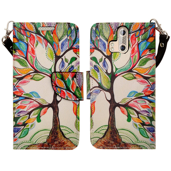 ZTE Axon Pro leather wallet case - colorful tree - www.coverlabusa.com