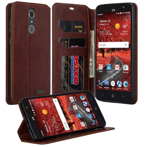 ZTE Grand X4 leather wallet case - brown - www.coverlabusa.com