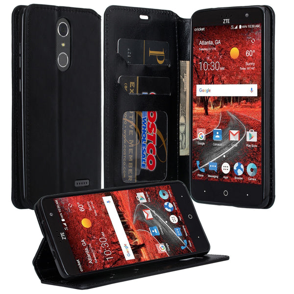ZTE Grand X4 leather wallet case - black - www.coverlabusa.com