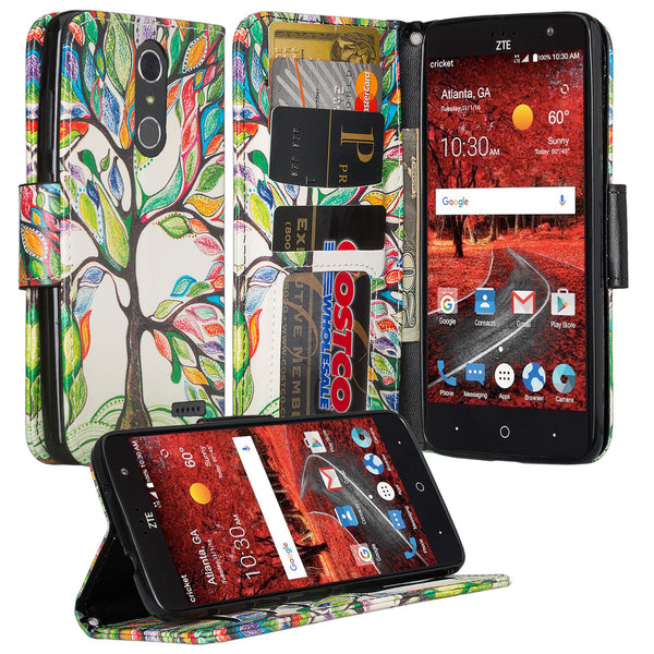 zte grand x4 vibrant tree wallet case - www.coverlabusa.com