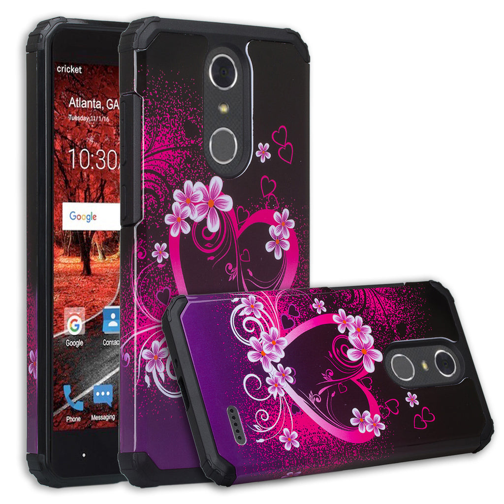 ZTE Blade Spark Z971, ZTE ZMAX One, ZTE Grand X4, X 4 Case, Hybrid Dual  Layer [Shock Resistant] Armor Protective Case Cover - Heart Butterflies